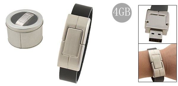 4GB Black Leather USB Bracelet Flash Drive