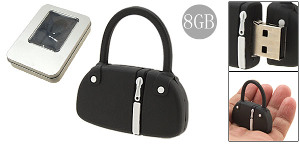 Black Rubber Hand Bag 8GB Flash Drive Stick