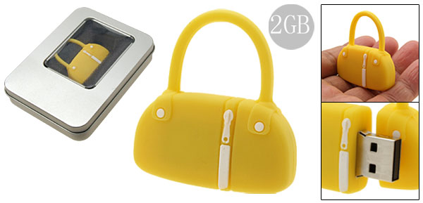 2GB Yellow Rubber Hand Bag Flash Drive Stick