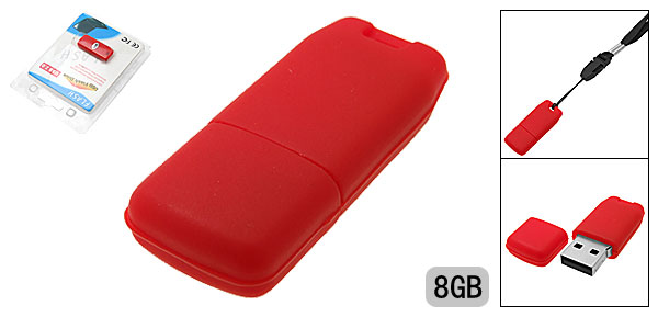 8GB Red Silicone Skin Mini USB Flash Drive