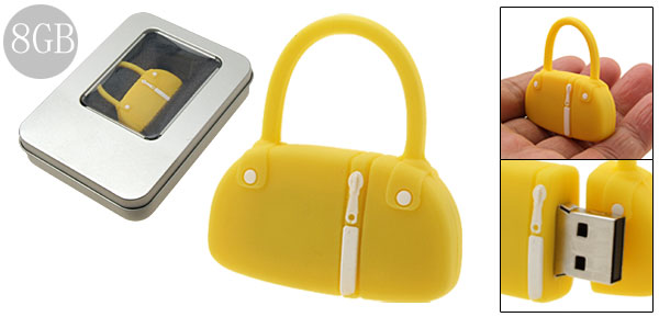 8GB Yellow Rubber Hand Bag Flash Drive Stick