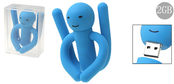 2GB Blue Rubber Flexible Puppet USB Flash Drive