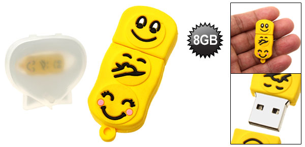 Compact Yellow Happy Faces Pattern 8GB USB Pen Drive