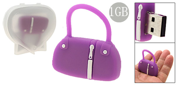 Purple Rubber Bag Shaped 1GB USB Memory Stick