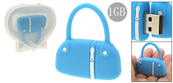 Blue Rubber Bag Shaped 1GB USB Memory Stick