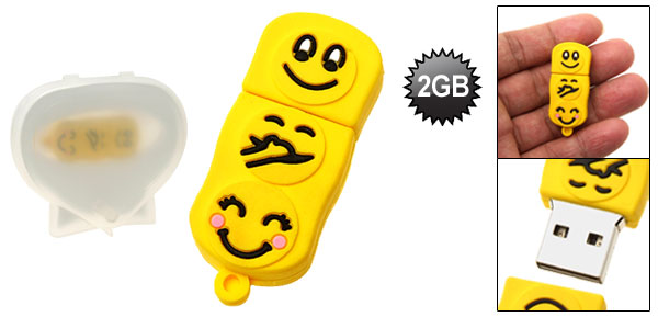 Compact Yellow Happy Faces Pattern 2GB USB Pen Drive