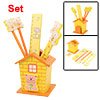 Yellow Cartoon House Wooden Pen Holder School Stationery Set