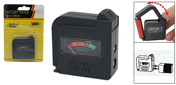Self-powered Battery Voltage Checker Tester Black for AA, AAA, D, C, 9V Size