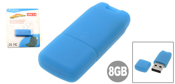 Mini 8GB Blue Silicone Skin USB Flash Drive
