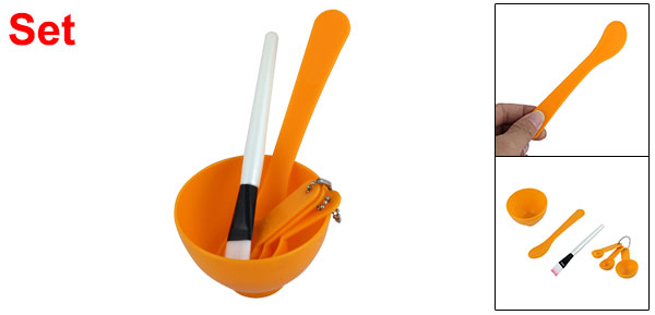 Homemade Face Mask Bowl Brush Gauge Stick Set 4 in 1 Beauty Tool