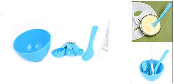 Ladies Blue Bowl Brush Gauge Stick Set for Homemade Face Mask