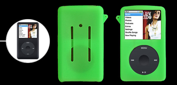 Smooth Silicone Skin Case Cover Green for iPod Classic 80GB