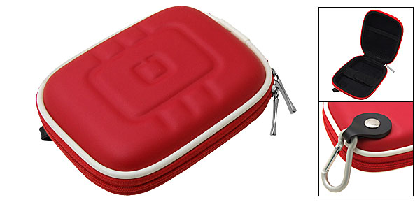 Red Travel Carrying Case Bag with Carabiner for GPS