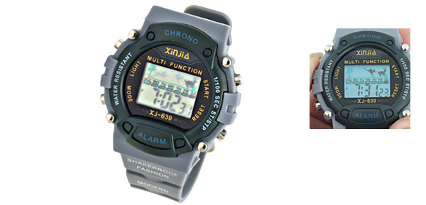 EL Light Men's LCD Digital Sports Alarm Watch Stopwatch