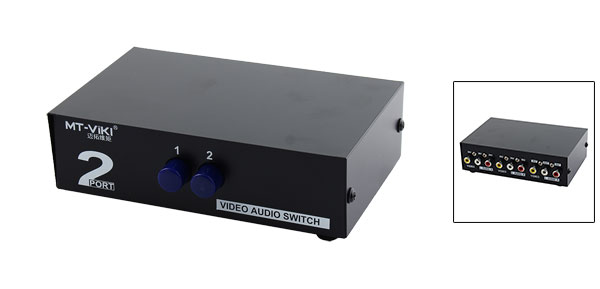 2 Way RCA AV Audio Video Switch Box for Xbox DVD TV