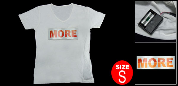 Funny More Light Up Girls EL T-Shirt White with Flash LED S