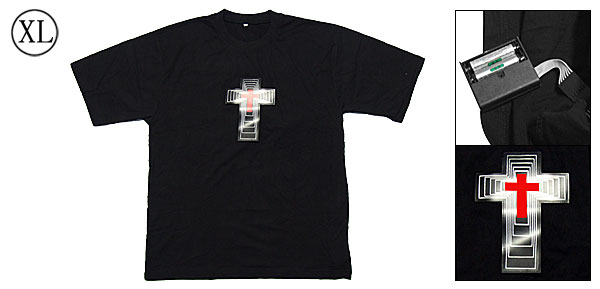 Party Gift Digital Dancing LED Sound-activated Flashing Cross EL T-shirt -XL Size
