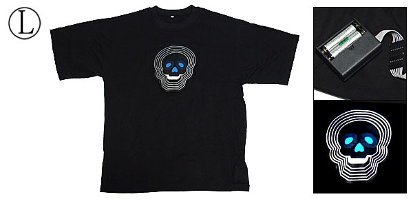 EL Skull Flash LED T-Shirt Rave Party Disco Funny Gadget L