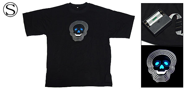 Skull Funny Party Black EL T-Shirt with Flash LED Small