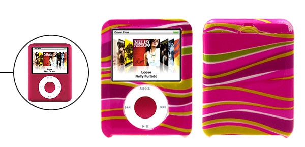 Yellow Print Magenta Plastic Case Cover for iPod Nano 3rd Generation 3G