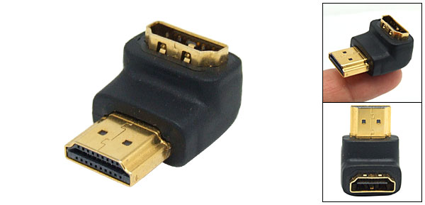 90 Degree Angle Shaped HDMI Male to Female Connector Adapter