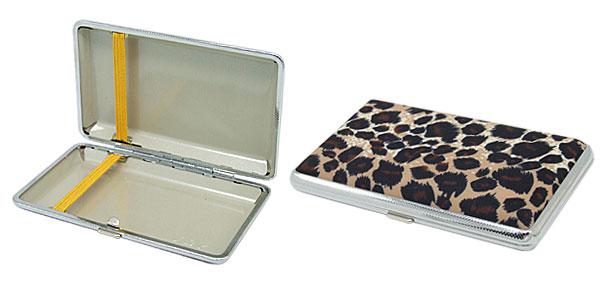 Pocket Leopard Pattern Metal Cigarette Cigar Case Holder