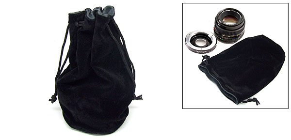 Protective Camera Lens Bag Fabric Carrying Pouch Black