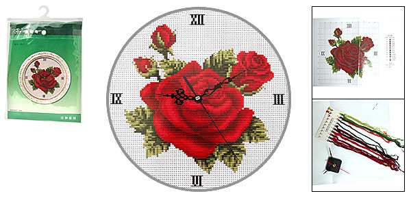 Red Rose Wall Clock Timer + Embroidery Counted Cross Stitch Cross-Stitch Fabric Kit