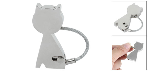 Metal Cat Appearance Pendant Key Holder Decoration Chain Keyring Silver Tone