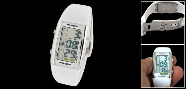 Digital Multifunction Alarm Sports Students' White Watch