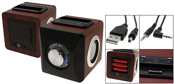 Mini Hifi Wooden FM Radio Speakers for iPod Mp3 & iPhone 3G Dock