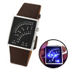 Arabic Number with Blue LED Light Leather Band Watch