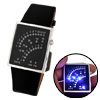 Blue LED Light Black Leather Band Men's Wrist Watch