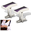 One Pair Purple Enamel CuffLinks Button Rectangle Cuff Links Silvery Mount