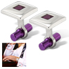 Purple Square Silvery Button Cuff Links Polished Gift Cufflinks O...