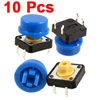 10 Pcs 12 x 12mm Panel Momentary Tactile Tact Push Button Switch 4 Pin DIP w Cap