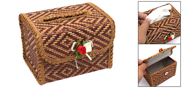 Mini Lovely Grown Embroidery Bamboo Tissue Paper Box Cover Holder