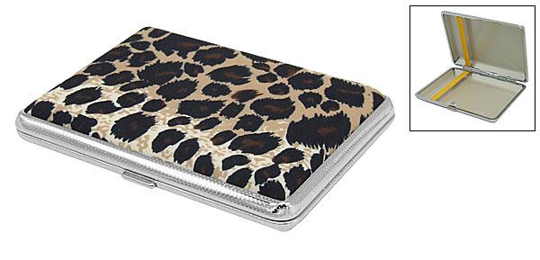 Metal Case Holder with Leopard Skin Pattern Cover