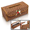 Mini Brown Embroidery Bamboo Tissue Paper Cover Holder Box