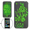 Green Plant Black Silicone Skin Case Cover for iPhone 3G