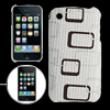 Textured Leather Coated Back Case Cover for iPhone 3G