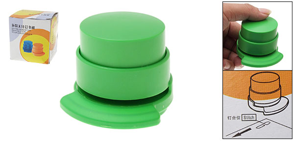 Eco-friendly Compact Stapless Stapler Paperclip Staple Green