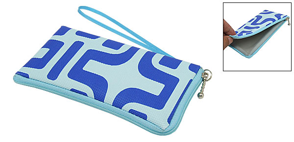 Mini Cute Blue Pattern Skyblue Leather Purse Bag for Mobile iPod coin