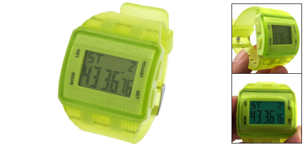 Fashionable Clear Green Plastic Squareness Sports Digital Wristwatch