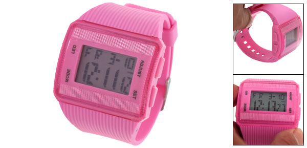 Wide Band Pink Plastic Water Resist Digital Wristwatch