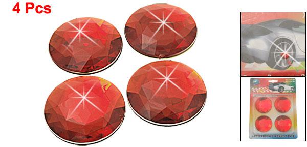 Red Wheel Center Cap Adhesive Stickers Decoration 52mm 4 Pcs