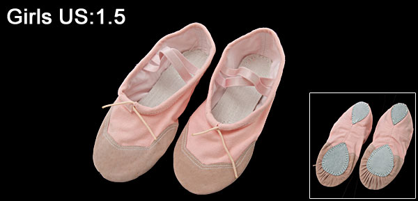 Girls Pink Ballet Dance Dancing Flat Soft Shoes Size 1.5