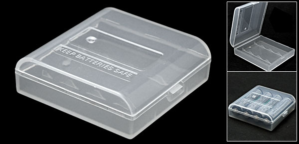 Clear Plastic Case Holder for 4 AA Batteries