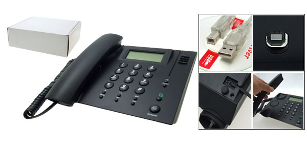 Black USB Skype Internet Desktop Net Phone Desk Telephone