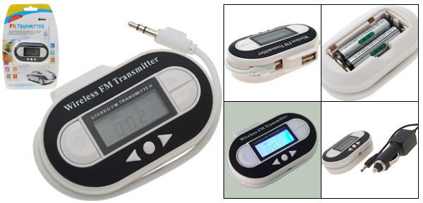 Wireless Stereo FM Transmitter for MP3 MP4 Player PDA